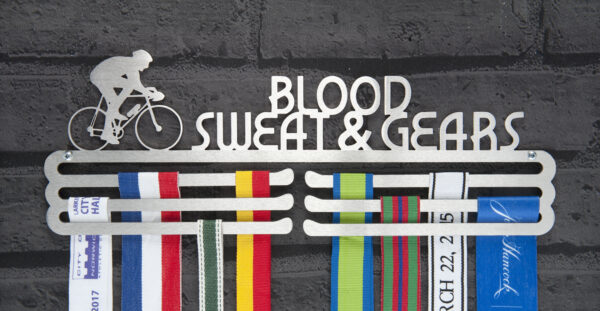 Blood Sweat and Gears Medal Hanger and Medal Displays from The Runners Wall
