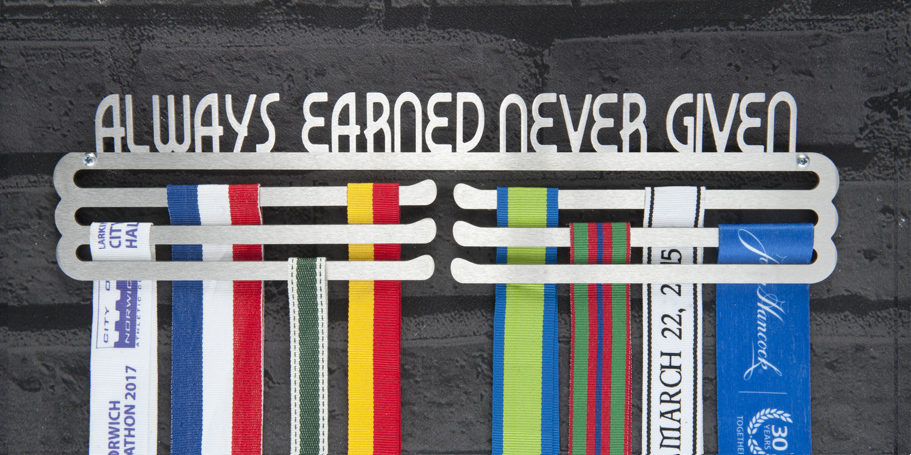 Always Earned Never Given Medal Hanger and Medal Display from The Runners Wall