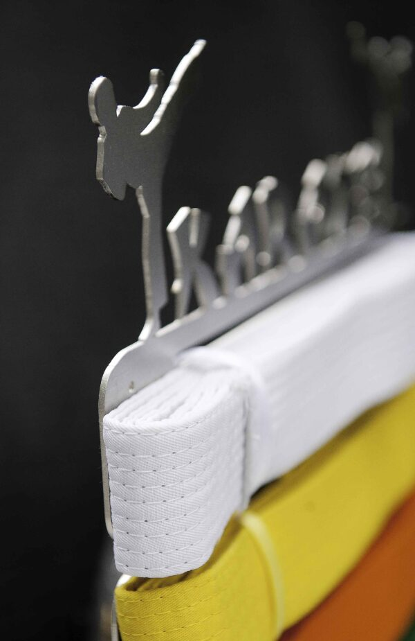 Angled view of karate belt display